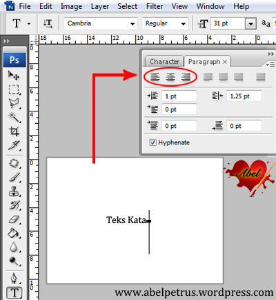 Teks Tool hanya muncul 3, yaitu: Left, Center, dan Right